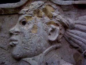 detail of african sculpture: head